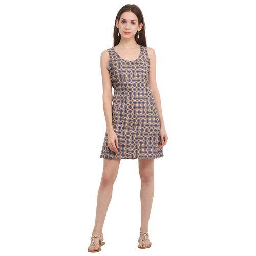 Cotton Printed Casual Wear Grey Sleeveless Dress