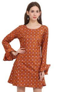 Cotton Printed Formal Wear Orange Butterfly Sleeve Dress