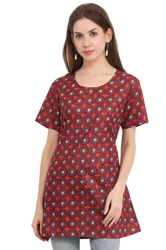Cotton Printed Maroon Color Dress