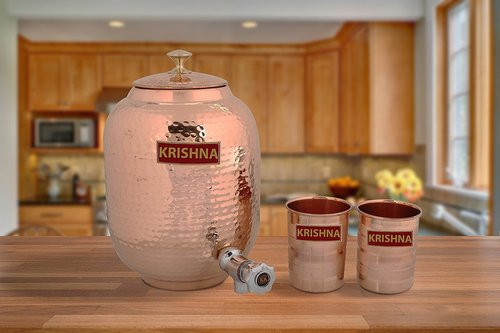 COPPER WATER JUG CAPACITY 4 LITRS  WITH 2 GLASSES