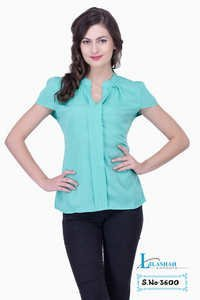 Green Solid Women Party wear Office Wear Casual Tops