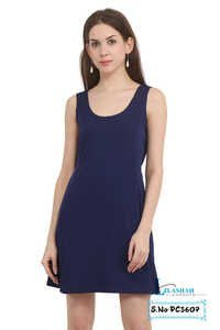 Poly Crepe Solid Casual Wear Navy-Blue Dress