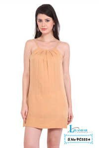 Poly Crepe Solid Party Wear Cream Dress