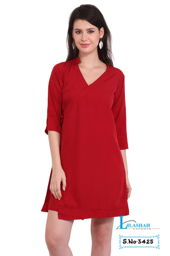 Poly Crepe Solid Women Three Quarter Sleeve Red Cimono Dress