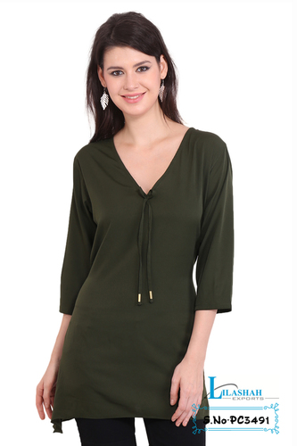 Poly Crepe Solid Party Wear Green Dress