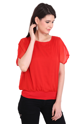 Casual Short Sleeve Solid Womens Red Tops