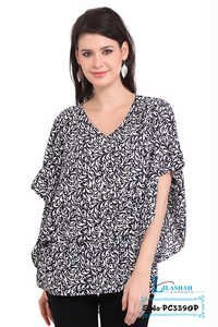 Poly Crepe Printed Black Balloon Short Sleeve Round Neck Top