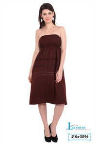 Poly Crepe Women 2 in 1 Brown Dress and Skirt
