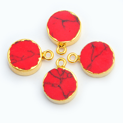 Gold Electroplated Coral Pendant