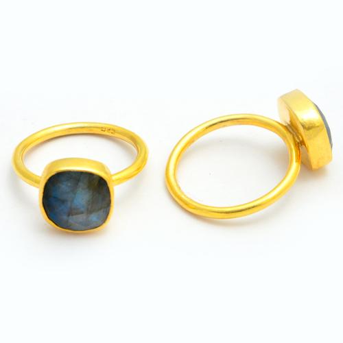 Labradorite Gold Plated Ring