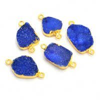 Blue Druzy Gold Plated Connector