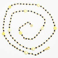 Black Onyx Gold Plated Beads Necklace