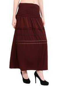 Poly Crepe Solid Women Lace Browen Skirt