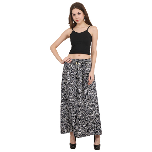 Cotton Printed Casual Wear Women Black Color Long Skirt