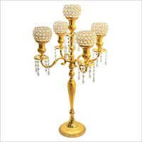 5 Arm Gold Finish Crystal Candelabra Wedding Centerpiece