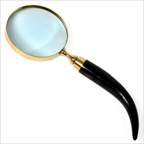 Antique Vintage Style Horn Handle Brass Magnifier
