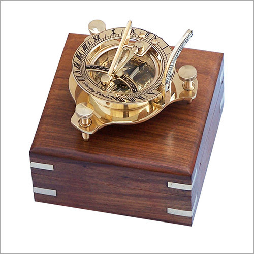 Antique Vintage Style Brass Sundial Compass with Wooden Box