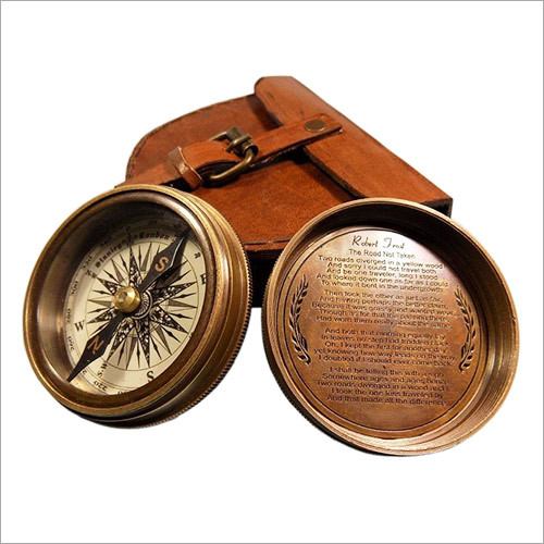 Antique Vintage Style Stanley London brass Pocket Compass with Genuine Leather Case