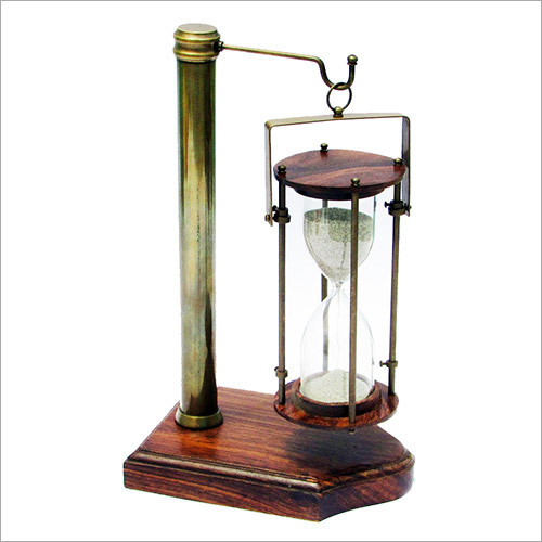 Antique Vintage Style Brass 5 Minute Sand Timer with Hanging Stand
