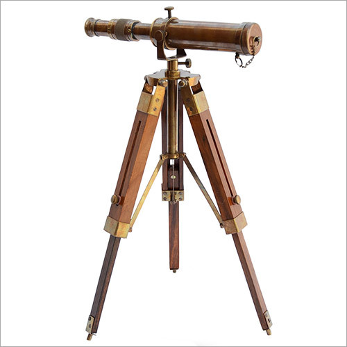 Brass Telescope with Wooden Tripod