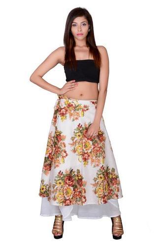 White Cotton Umbrella Wrap Around Skirts