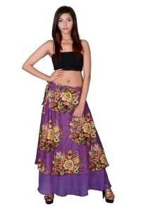 Purple Cotton Umbrella Wrap Around Skirts