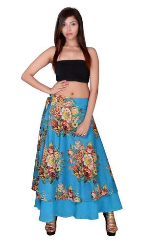 Sky-Blue Cotton Umbrella Wrap Around Skirts