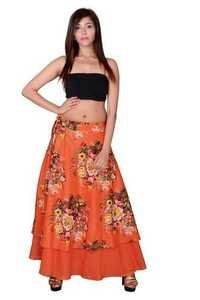 Orange Cotton Umbrella Wrap Around Skirts
