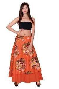 Orange Cotton Umbrella Wrap Around Skirts