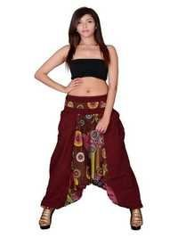 Cotton Party Wear Maroon Harem Trouser