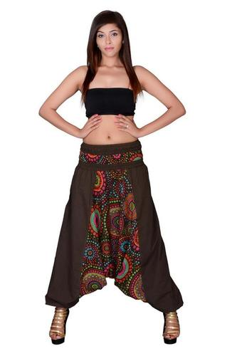 Cotton Party Wear Brown Harem Trouser