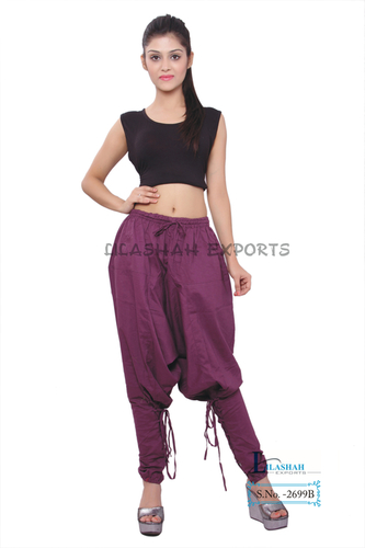 Cotton Women Solid Dark-Purple Polo Trouser