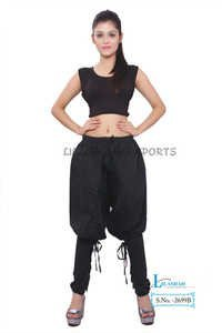 Cotton Women Solid Black Polo Trouser
