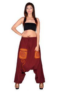 Cotton Solid Maroon Pockets Beggi Trouser