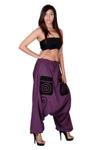 Cotton Solid Dark Purple Pockets Beggi Trouser