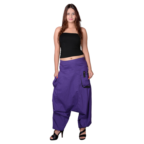 Cotton Solid Purple Two Pockets Yoga Trouser