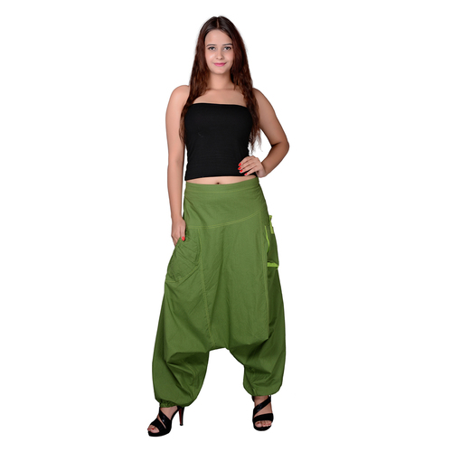 Cotton Solid Mehndi Green Two Pockets Yoga Trouser