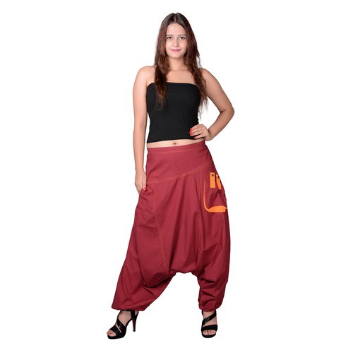 Cotton Solid Maroon Two Pockets Yoga Trouser