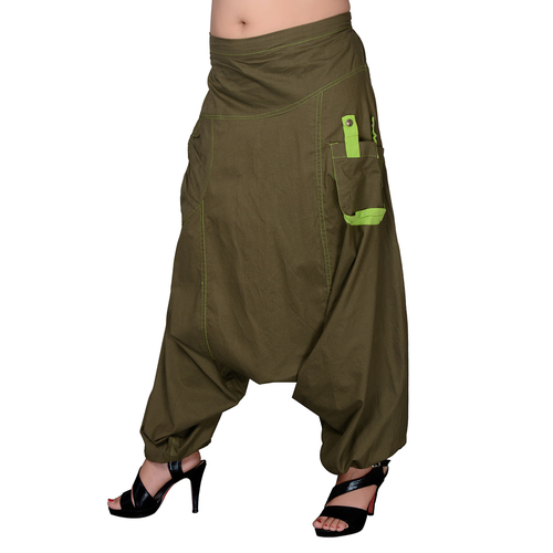 Cotton Solid Khaki Two Pockets Yoga Trouser