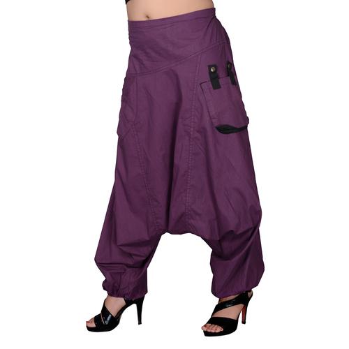 Cotton Solid Dark Purple Two Pockets Yoga Trouser