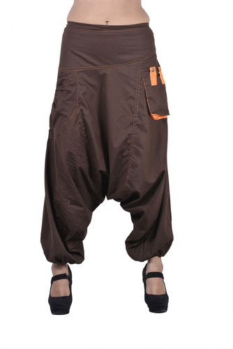 Cotton Solid Brown Two Pockets Yoga Trouser