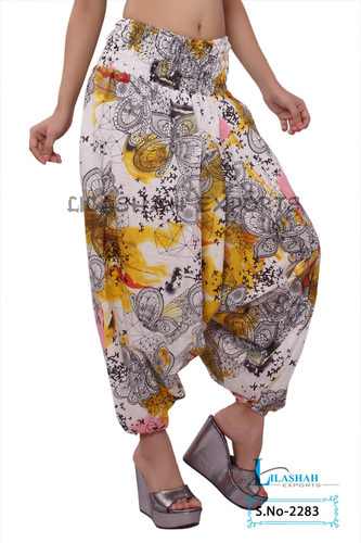 Cotton Printed Women Yellow Color Afghani Trouser