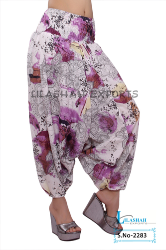 Cotton Printed Women Purple Color Afghani Trouser