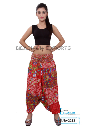 Cotton Printed Women Red Color Afghani Trouser