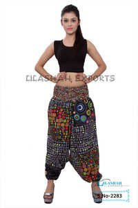 Cotton Printed Women Black Color Afghani Trouser