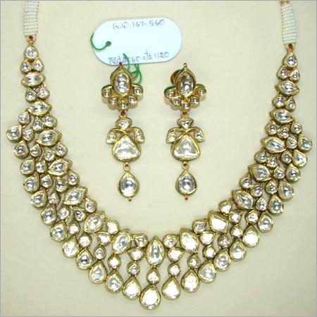 White Polki Diamond Necklace