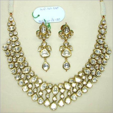 White Polki Diamond Necklace