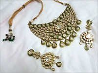 Jadau Green Meena Polki Necklace