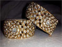 White Diamond Polki Bangle Pair