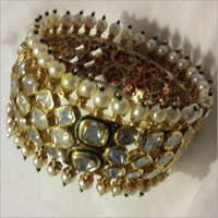Green Meena Pearl Polki Bangle